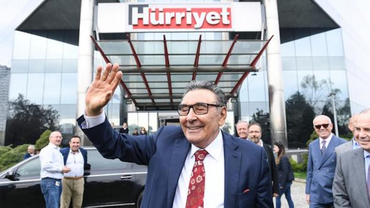 The person who was Turkey's biggest media owner, Aydın Dogan, leaves daily Hurriyet headquarters in Istanbul after bidding farewell to staff following selling his entire media group in a surprising move.